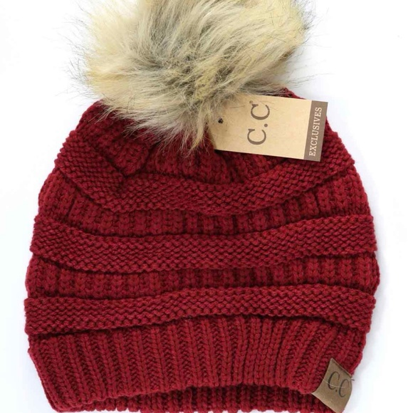 878f1b1564a Deluxe Warm Red CC Beanie with Fur Puff